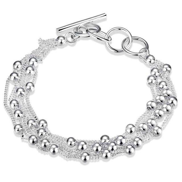 Бесплатная Доставка Горячей 2016 серебряные браслеты браслеты Шесть линии свет бисера pulseiras Персонализированные HBH045