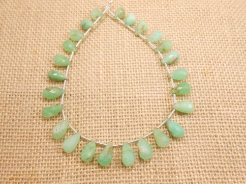 AAA-Fine-9-Natural-Chrysoprase-Teardrop-Briolette-Faceted-Gemstone-Beads-strand