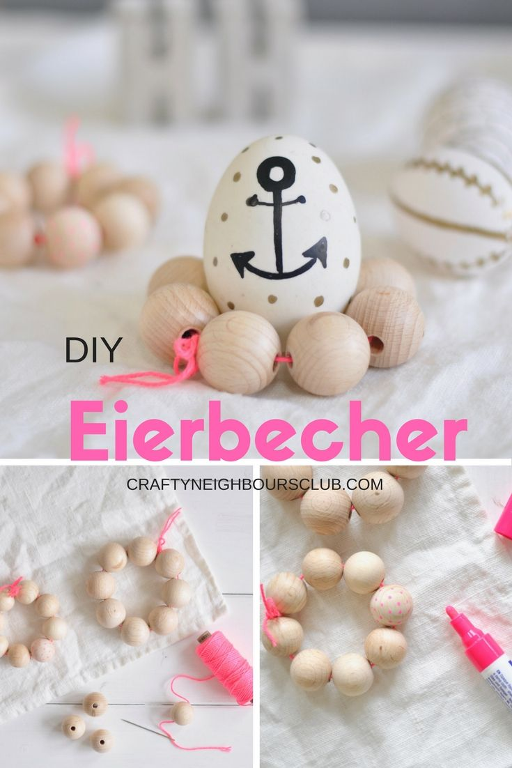 DIY für Eierbecher aus Holzperlen. Ganz schnell und einfach selbstgemacht. Anleitung auf Craftyneighboursclub.com
