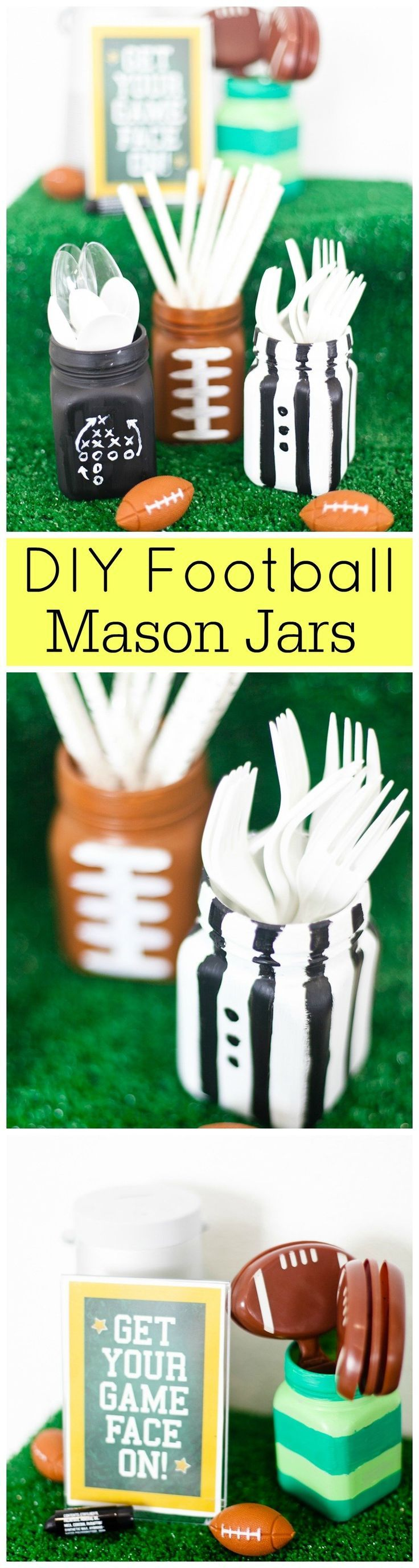 Gearing up for football season? These DIY Mason Jars are the perfect touch to your football-themed party!