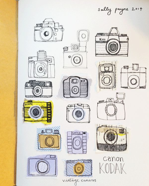 Sketched cameras Sally payne 2014.  Los of great simple illustrations.
