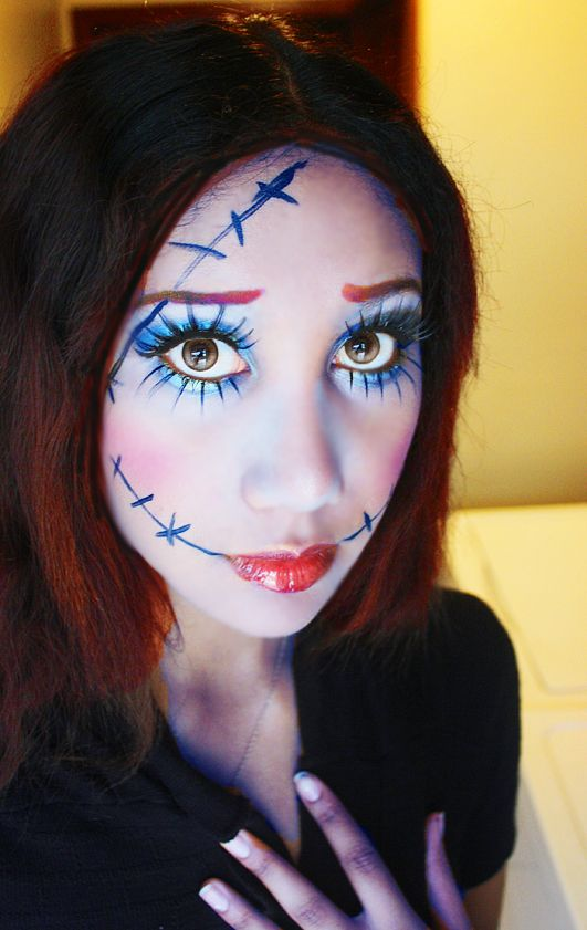 a makeup test i did for my new halloween costume this year sally from the nightmare before christmas i bought everything for the costume online - Eyeshadow For Halloween