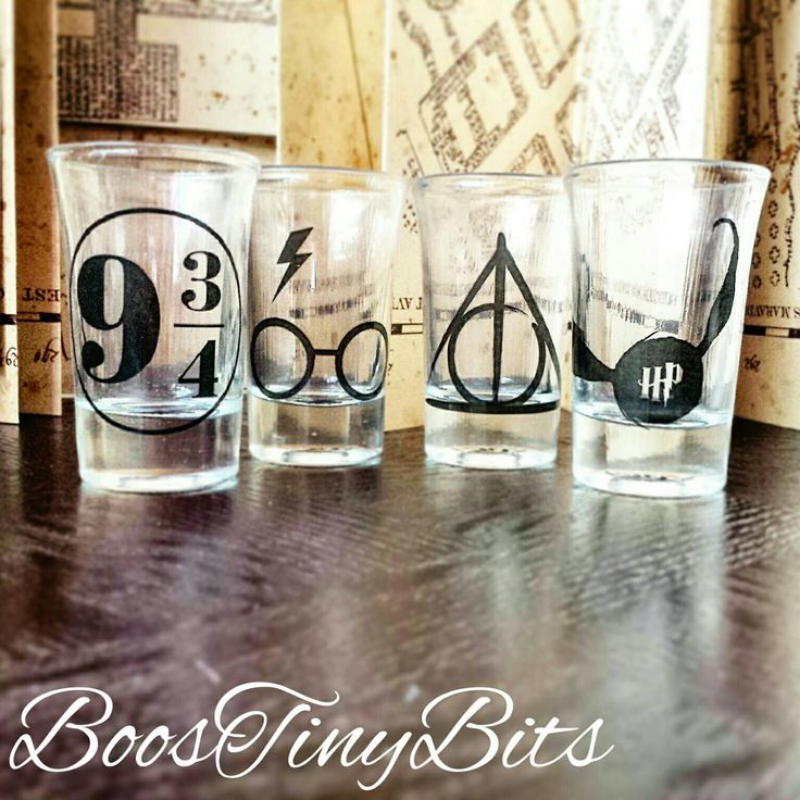 Harry Potter Shot Glasses | Deathly Hallow | Platform 9 & 3/4 | Snitch | Gifts for him | Gifts for her | Vintage by BoosTinyBits on Etsy https://www.etsy.com/listing/247820881/harry-potter-shot-glasses-deathly-hallow