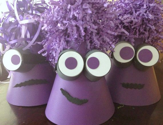 DESPICABLE Me Coned Party Hat - Despicable Me 2 - Birthday Party - Minion - Boys Party - Boy Birthday - Purple - P.S. Kreative Kreations