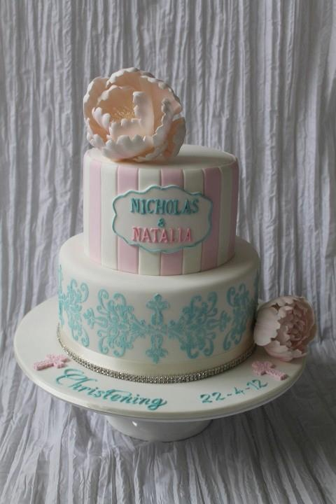Twins Christening Cake by Queen of Cakes - W.A. - www.cakeappreciationsociety.com