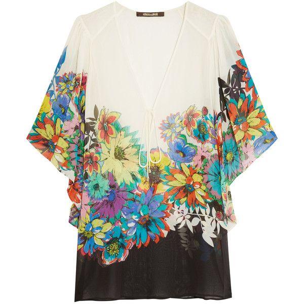 Roberto Cavalli Printed silk kaftan (€245) ❤ liked on Polyvore featuring tops, tunics, multi, white tops, white silk top, bell sleeve tunic, white bell sleeve top and silk tunic