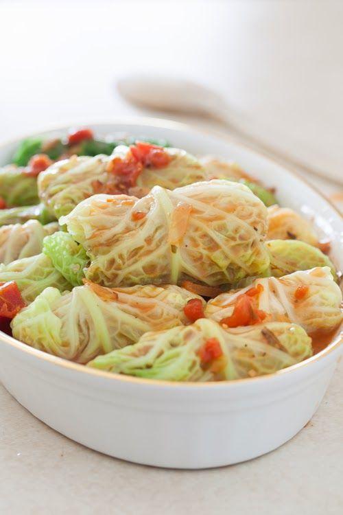 Vegetarian Stuffed Cabbage Rolls with Quinoa, Onions & Carrots (gluten & dairy free)