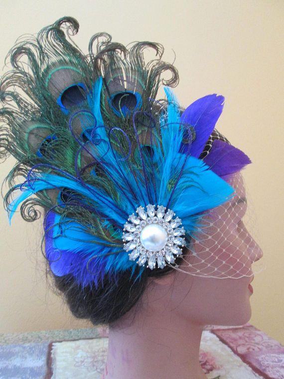 Peacock Wedding Fascinator Hair Clip Turquoise & Purple