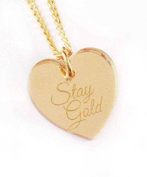 Stay Gold Necklace Gold Heart by iloveyardleydecember on Etsy