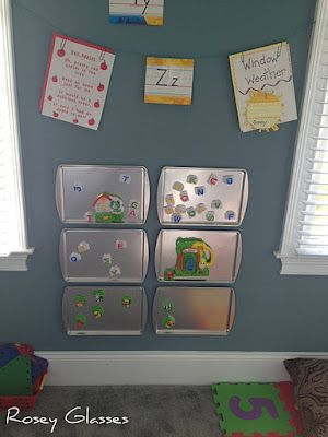 UPCYCLED magnet board for Alphabet and An Animal Say ... Playroom idea