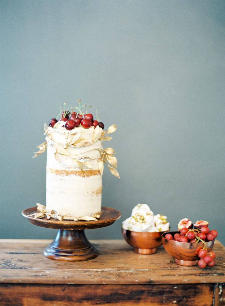 Half naked wedding cake, vanilla, cherries by The Cake That Ate Paris. Photography: Byron Loves Fawn. Styling: Little Gray Station.