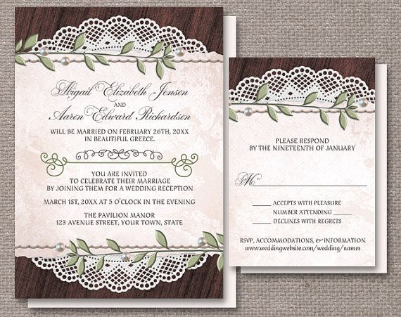 Rustic Vintage Reception Only Invitations And Matching RSVP Reply Cards Featuring Leaves Pearls