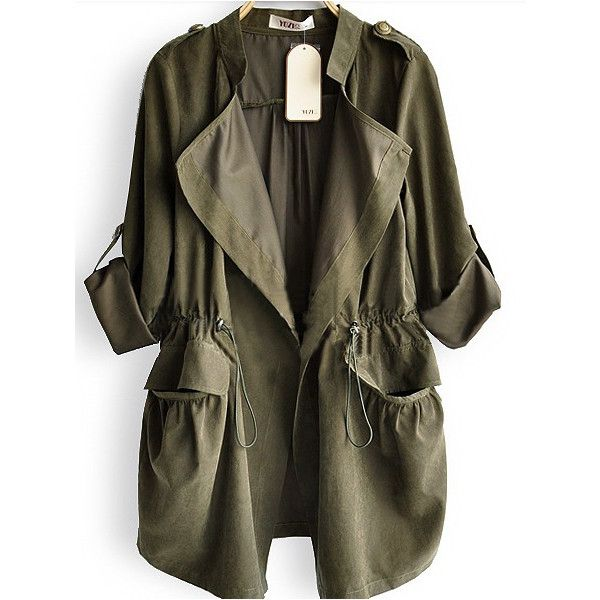Amy Green Drape Collar Pockets Long Sleeve Drawstring Outerwear ❤ liked on Polyvore