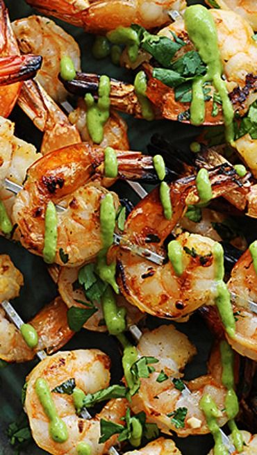Cilantro Lime Grilled Shrimp + Roasted Poblano Sauce ~ Cilantro lime marinated grilled shrimp topped with a spicy roasted poblano sauce! You won't believe how easy and yummy this dish is!