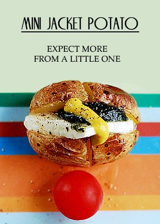 Mini jacket potato. Use goat cheese, spinach, sun-dried tomato