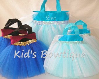 Birthday Party Pack for a Disney Frozen Movie Fan- 10 Princess Party Favor Tutu Bags with a Monogrammed  Tutu Tote Bag