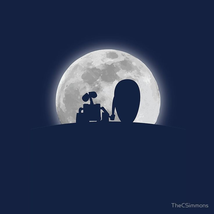 Wall•E and EVE in the Moonlight, Awwwww.