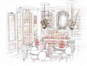 Rendering of Anouska Hempel's interior design plans for Patisserie de Pera ... When my work is gone I want someone else to have a chance. So I go for very strong architectural solutions with movable parts. -Anouska Hempel, Anouska Hempel