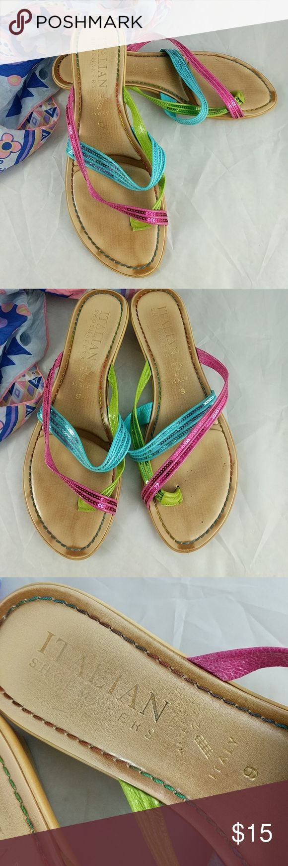 """Italian shoemakers strappy sandals 9 Berry lime, and teal sequenced straps.  1.5"""" heel.  Worn in, but really well made.  Fun summer sandals. Italian Shoemakers Shoes Sandals"""
