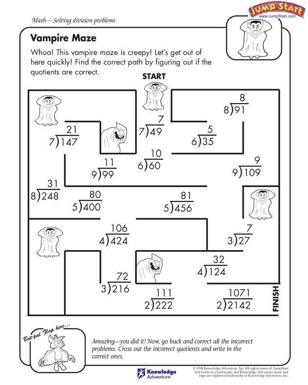 Vampire Maze 4th Grade Math Worksheet For Division Jumpstart Easy Math Worksheets 4th Grade Math Math Worksheets