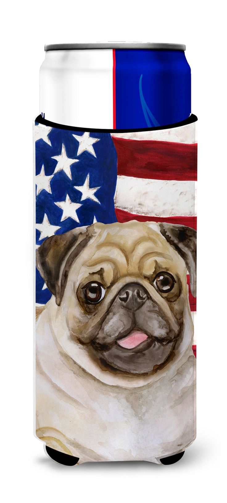 Fawn Pug Patriotic Michelob Ultra Hugger for slim cans BB9718MUK