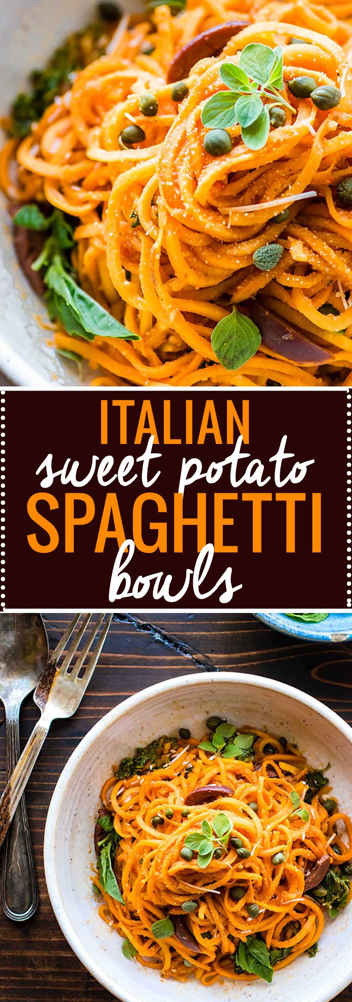 Snappy Italian Sweet Potato Spaghetti made with spiralized sweet potatoes in zesty tomato sauce. This dish is easy to make to one pot with simple paleo/vegan friendly ingredients already in your pantry! Whip up these Italian Sweet Potato Spaghetti bowls in 20 minutes for a quick yet wholesome meal. www.cottercrunch.com