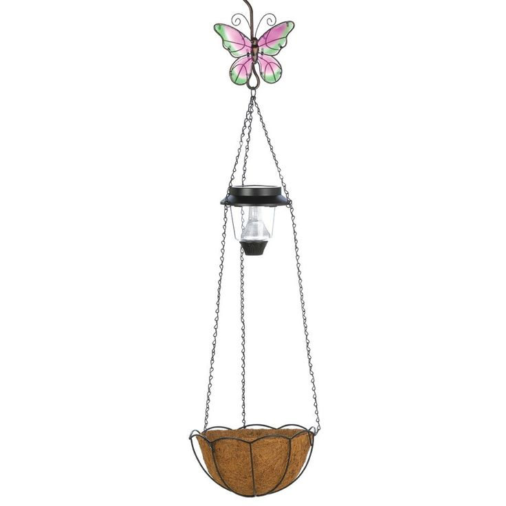 Solar Butterfly Hanging Basket  With a solar light, planter basket and beautiful stained glass butterfly, this hanging decoration is a triple treat! Classic wrought-metal with fiber basket adds a timeless splash of color to your outdoor décor.