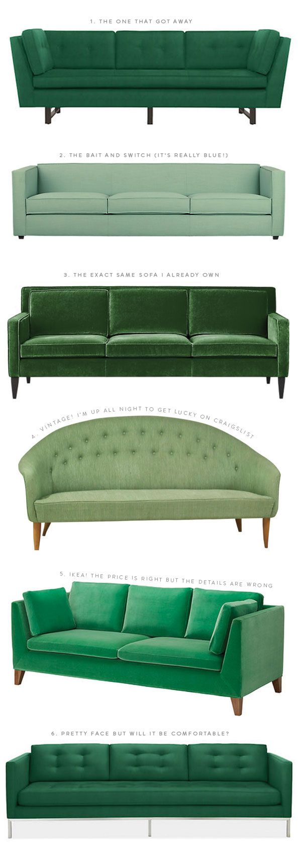 #couches The Great Green Sofa Hunt of 2014 | Oh Happy Day! - I'll take one of each please!
