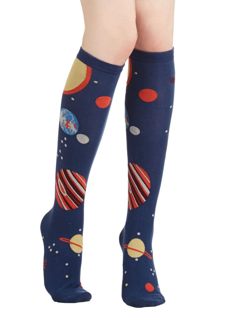 Galaxy Me Shine Socks. Show off your out-of-this-world fashion sense by wearing these planet-printed socks! #blue #modcloth