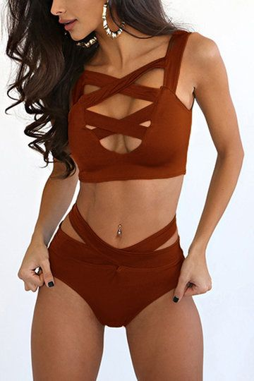 Orange Cross Front Bodycon Bikini Swimwear