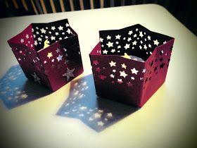 Kreativ am Deich : ...kleine Stern-Teelichter....mit dem Geschenktüten-Board....