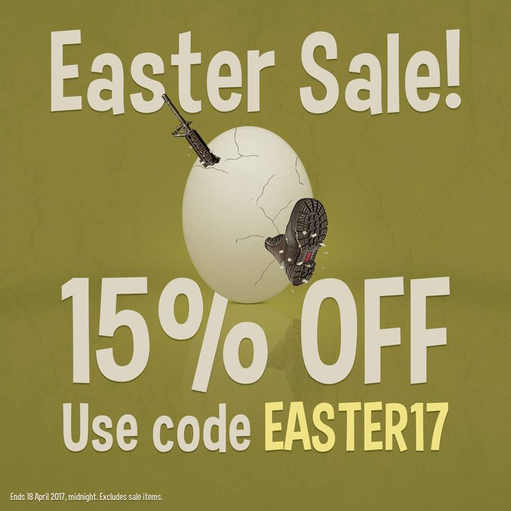 Military 1st Easter Sale starts today! We give you 15% off all products with Discount Code EASTER17. Visit our website now - offer ends 18 April 2017, midnight. Excludes sale items. Free UK delivery and returns! Competitive overseas shipping rates.