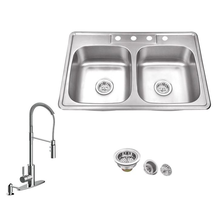 Ipt Sink Company All In One Drop In Stainless Steel 33 In 4 Hole