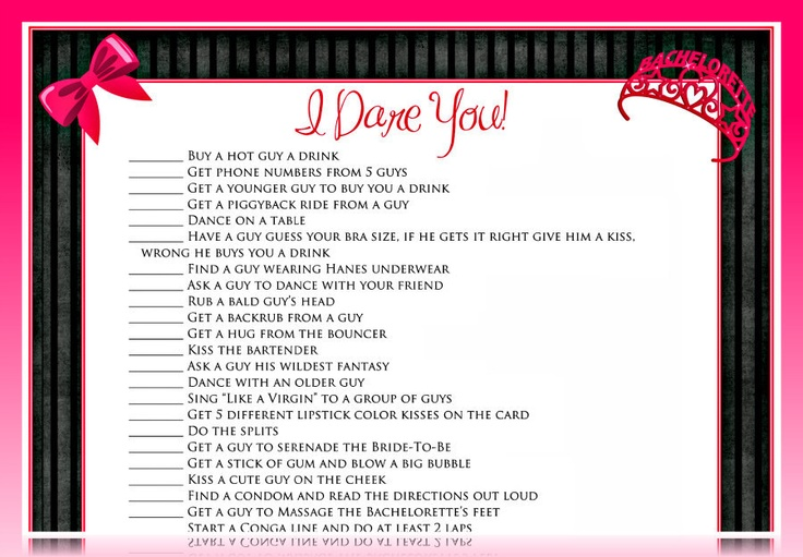 """""""I Dare You"""" sheets are perfect for a bachelorette party!! The tasks on here are too funny! #perfect"""