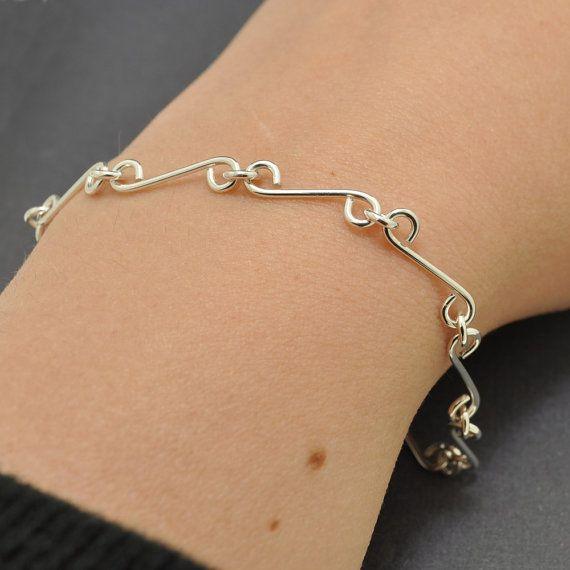 Handgemaakte Verwijzigingen armband Sterling Zilver Bar