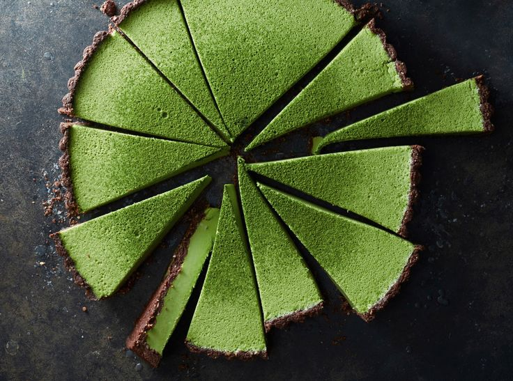 matcha coconut tart with a chocolate crust.
