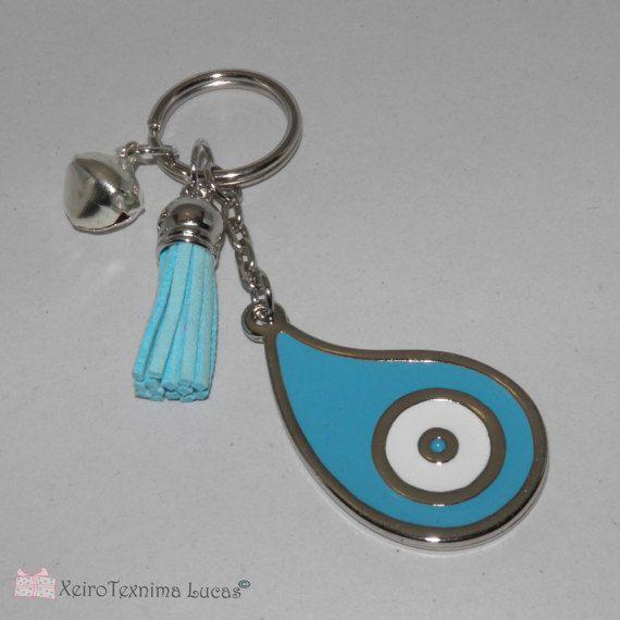 Eye Teardrop Metal Keychain Charm Gift Wrap. New Year charm.
