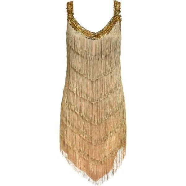 Roaring '20s Champagne Flapper Dress ($30) ❤ liked on Polyvore featuring dresses, 20s dresses, 1920s flapper style dress, 1920s inspired dresses, champagne dress and vintage white dress