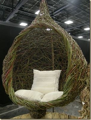 Hanging pod seat made of willow and red dogwood