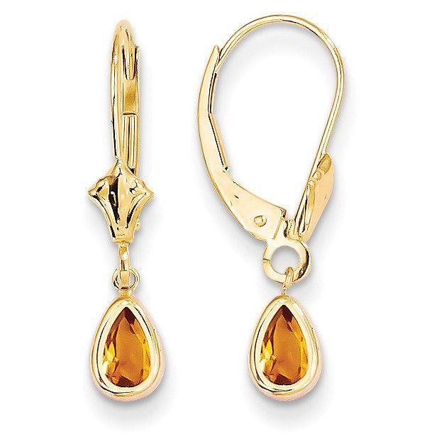 14k WG Bezel April White Zircon Birthstone Leverback Dangle Earrings 23mm x 4mm