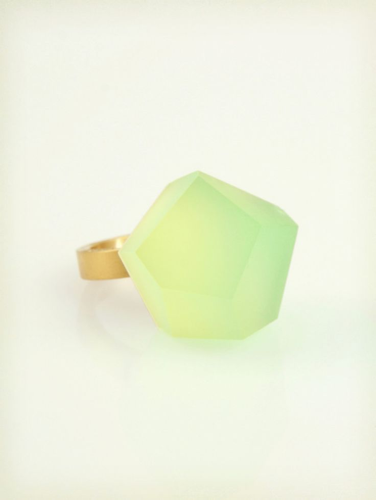 Fruit Bijoux, VU, gold ring, lime green. To download high or low resolution product images view Mondrianista.com (editorial use only).