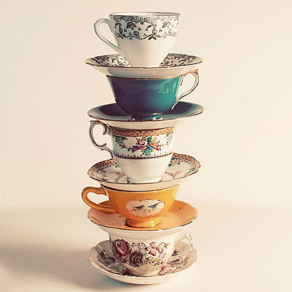 Still Life Photography, Have A Cup, 5x5 Print, Vintage Teacup Stack Photo, Fine Art Photograph