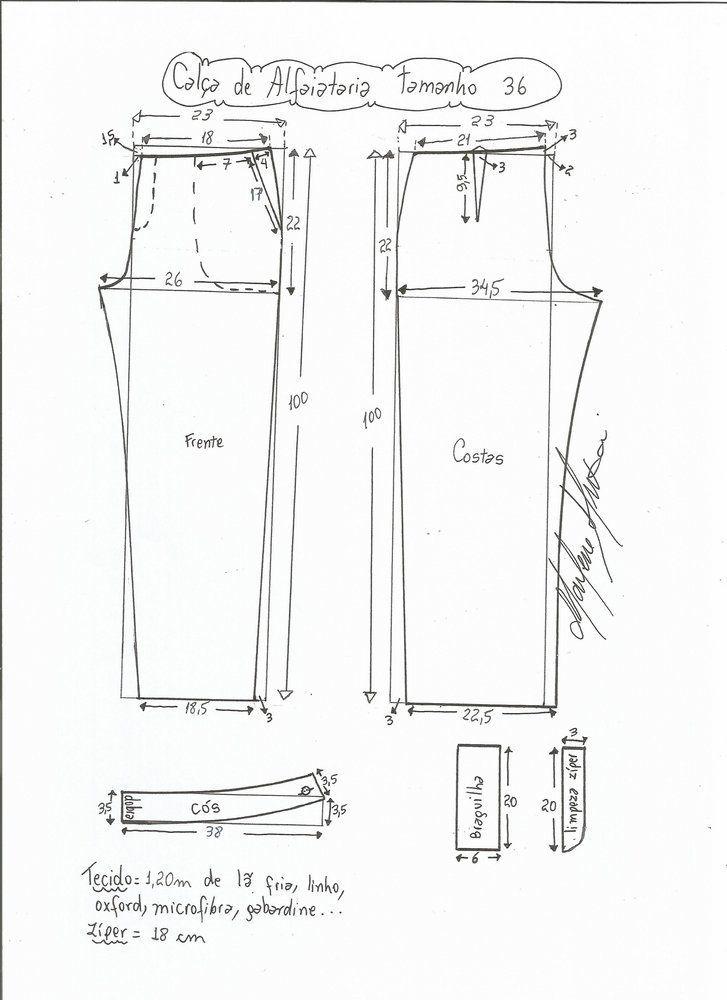 Patrón Pantalón de sastre de mujer | Patrón de pantalones, Sastres ...