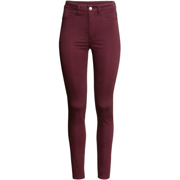 H&M Superstretch trousers ($23) ❤ liked on Polyvore featuring pants, jeans, bottoms, trousers, burgundy, high rise pants, faux pants, high-waisted pants, h&m and pocket pants