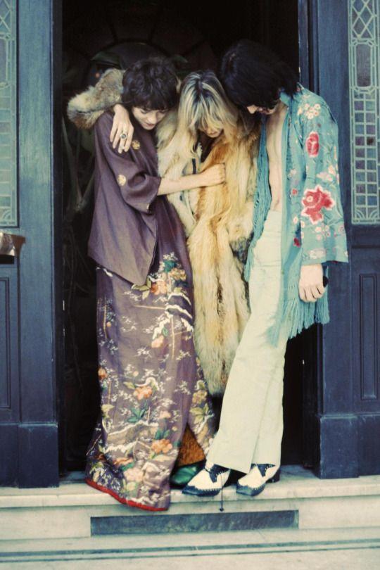 Michele Breton, Anita Pallenberg and Mick Jagger on the set of Performance 1968
