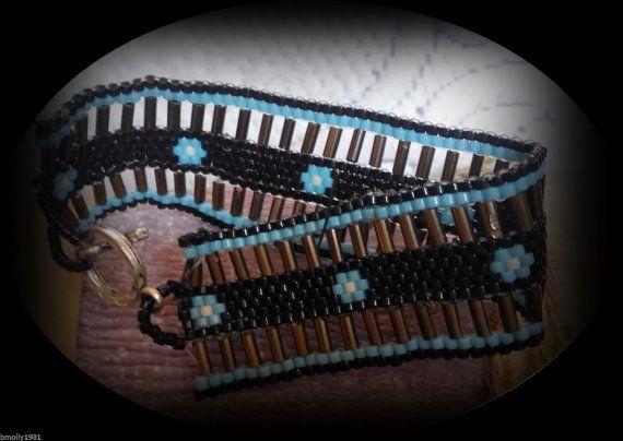HANDMADE beaded Turquise flower bracelet
