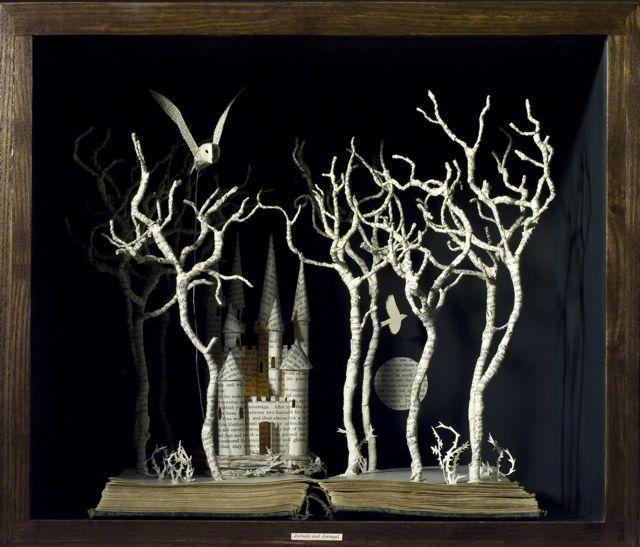 Fairy-tale flight- Love this idea... deconstructed book sculpture