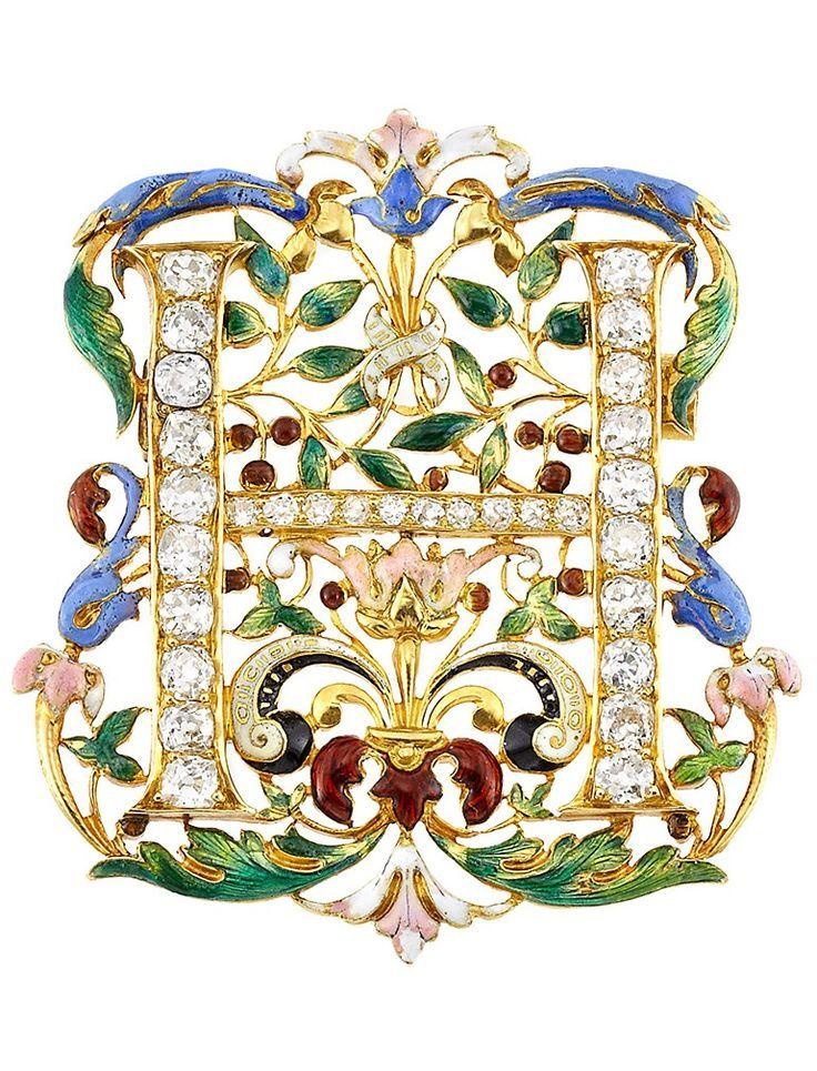 "Antique High Karat Gold, Enamel and Diamond Brooch, circa 1900. LETTER ""H"""