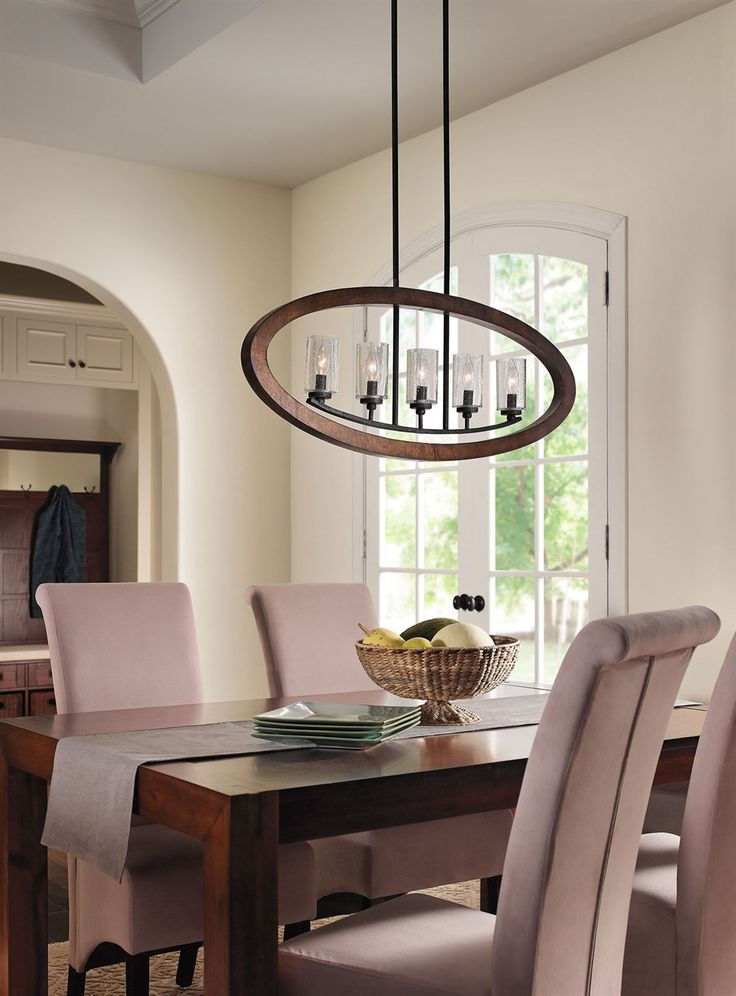 Dining room lighting grand bank 5 light linear chandelier kichler lighting pinterest - Kichler dining room lighting ideas ...