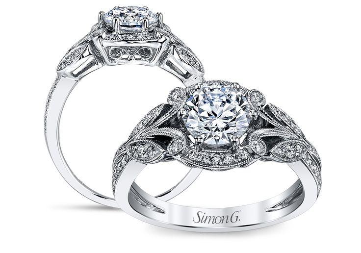 Simon G 18k White Gold Diamond Engagement Ring 0 24cttw